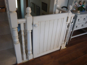 Door stairgate with distressed painted finish